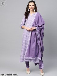 Nayo Purple & White Printed Straight Kurta Set
