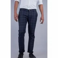 Cotton Mens Check Formal Pant