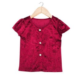 Half Sleeves Kids Girls Maroon Velvet T Shirt, Age Group: 08-10 Year