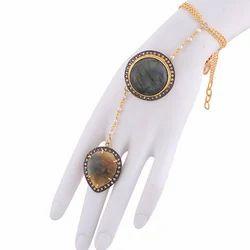 Gold Plated Girls Labradorite Gemstone Slave Bracelet