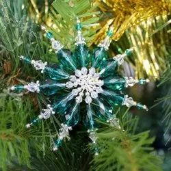Handmade Beaded Hanging Christmas Tree Ornaments Glass Seed Beads Christmas Decor