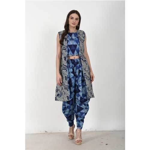 ee58d3cb2 Ladies Crop Top With Dhoti And Jacket