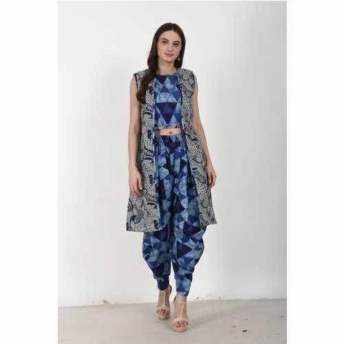 529af19476 Ladies Crop Top With Dhoti And Jacket at Rs 1150 /piece | Crop Top ...
