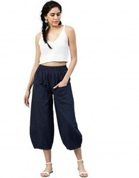 Women Navy Blue Solid Cotton Slub Trousers