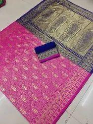 Heavy Banarsi Rich Pallu Design For Women's Banarsi Rich Pallu Saree With  Running Blouse Piece