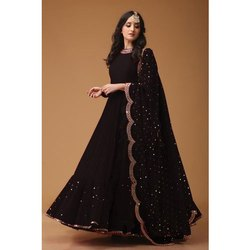 Plain Festive Wear Ladies Black Long Maxi Dress