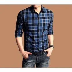 Cotton Full Sleeves Men Check Casual Shirt