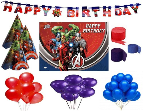Four Year Old Birthday Marvel Avengers Shield 4th Birthday Party Balloon Decoration Bundle 7 pieces