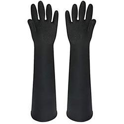 Black Unisex Chemical Resistant Rubber Hand Gloves, Application: Industry/Material Handling/Assembly