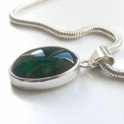 Green Tourmaline Silver Pendent Gemstone