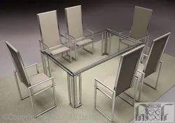 White Mirror Finish Steel Dining Table, Size: 6x2.5, Shape: Rectangular