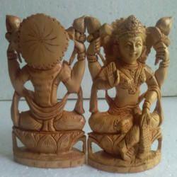 Hand Carved Wooden Lakshmi Statue