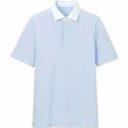 White And Blue Boys Plain T-Shirt