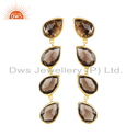 Smoky Quartz Gemstone Gold Plated Silver Designer Earrings