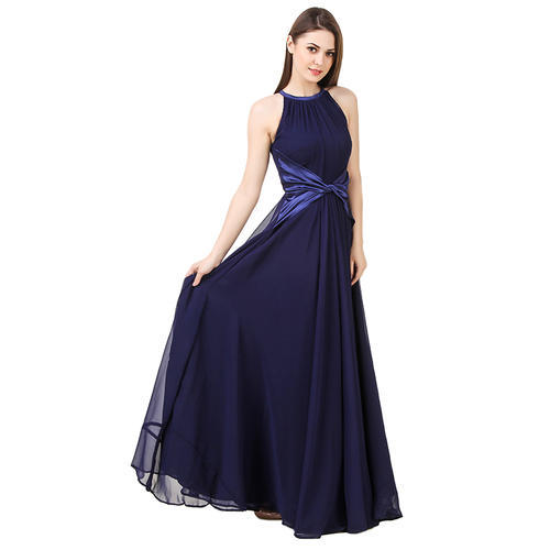 09e7f4294ebd3 Navy Blue Halter Maxi Dress( Satin Knot) at Rs 999  piece ...
