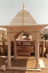 Pink Marble Stone Chatri, For Garden
