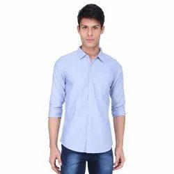 Formal Wear Blue Oxford Plain Shirt