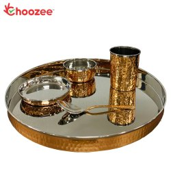 Choozee - Copper Thali Set (5 Pcs) of Thali, Bowl, Spoon & Glass