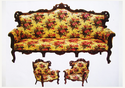 Wood Flower Printed Sofa Set