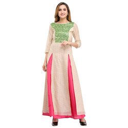 Cottinfab Embellished Kurta and Skirt Set