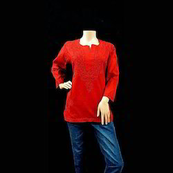 Ladies Round Neck Embroidered Red Top, Size: S & M
