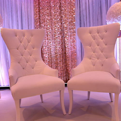 Leather And Wood White And Gold Wedding Chairs | ID: 15823958033