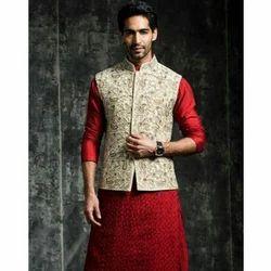 Designer Royal Red and Cream Waistcoat
