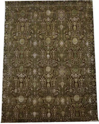 Hand Knotted Wool And Silk Brown Rug