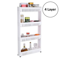 Parasnath 4 Tier Kitchen Storage Organiser Rack Holder with Wheels