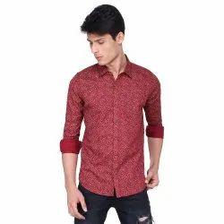 Green Revolt red Linen Printed Shirt
