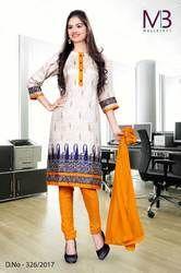 Beige with Red White Border Tripura Cotton Uniform Salwar Kameez