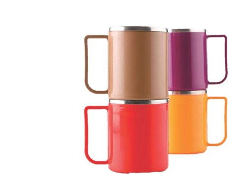 Steel With Plastic Coffee And  Milk Mug Set Of 2