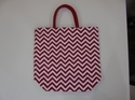 Red Striped Hand Bag With Padded Handle