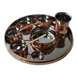 Copper Maharaja Thali Set w Rice Bowl