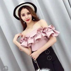f2d80a32ead546 S-xxl Party Wear Rayon Off Shoulder Ruffle Top