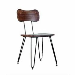 Brown Polished Fancy Wooden And Rod Iron Chairs for Restaurant, Size: 18 x 16 x 33 inch