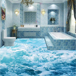 Multi Color 3d Bathroom Floor Tiles