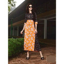 Ladies Designer Orange And Black Kurti