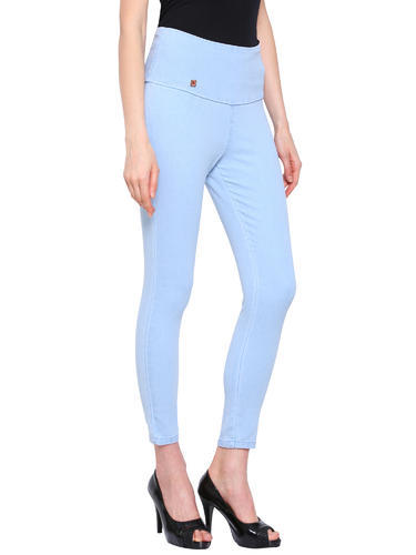 ed586fb193e2b Imported Blue Women' s High Waist Denim Jegging Ankle Length Style Jeggings  Solid Slim Fit