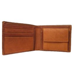 Bi Fold Plain Mens Brown Leather Wallet, Card Slots: 3