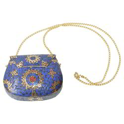 White Metal Bag With Stone Work