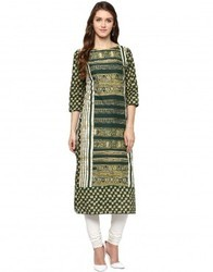 Straight Asymmetric Green Cotton Kurta