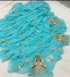Party Wear Chiffon Gota Patti Saree With Blouse Piece