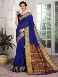 Bridal Wear Cotton Silk Saree In Blue, With Blouse Piece, 6.3 M