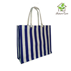 Jute Laminated Bag With Stripes Print