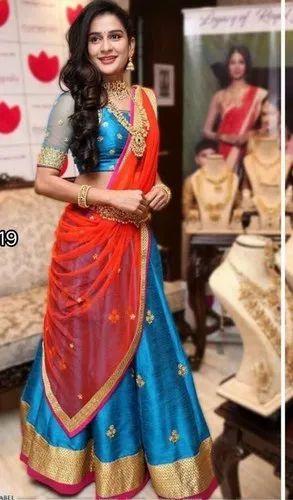 46dde5ba25 New Designer Blue Color Silk Embroidery Lehenga Original Quality For  Wedding Party Festival Bride