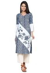 Indigo Patchwork Long Cotton Kurti