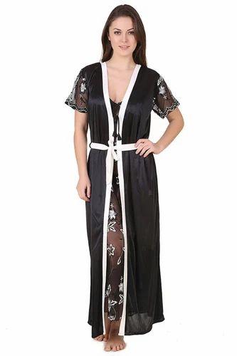 a23f9f86e61 Ladies Black Satin Nighty With Robe