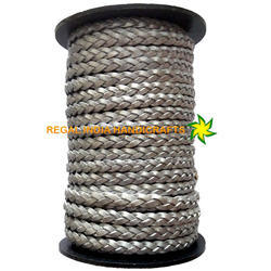 Metallic Grey Flat  Braided Leather Cord