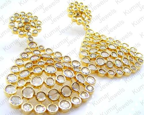 0dae9e87691 Kumar Jewels Engagement and Party Stylish Golden Polki Stone Earrings